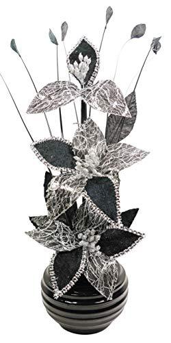 Flourish Kunstblumen im Topf Dekoration Wohnung Modern Deko Wohnzimmer, Geschenk, 32cm, Schwarz Weiß