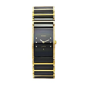 Rado Women's R20752752 Integral Black Dial Gold Plated Stainless Steel Watch image