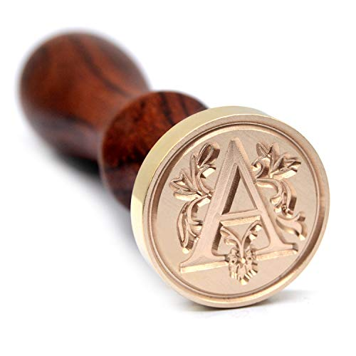 Traditional Initial Alphabet Wax Seal Stamp, Brass Head Wooden Handle, for Thanksgiving Card/Envelope/Gift Wrap/Wedding Engagement Party Invitation - Letter A