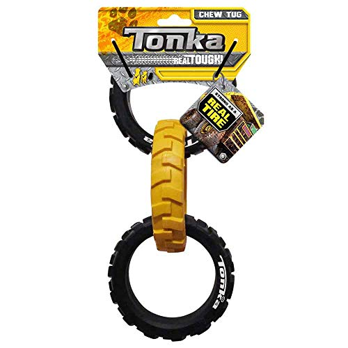 Tonka Rubber 3-Ring Tug Dog Toy, Lightweight, Durable and Water Resistant, 10.5 Inches, for Medium/Large Breeds, Single Unit, Yellow/Black