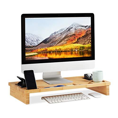 Relaxdays Monitorstandaard bamboe, beeldschermverhoging voor laptop, beeldschermstandaard met opbergruimte, HBT 9 x 60 x 30 cm, natuur, standaard