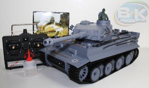 Unbekannt RC Kampfpanzer DEUTSCHER TIGER 1 Schussfunktion ferngesteuerter Panzer 30 Meter Schussweite✔ 54cm Länge✔