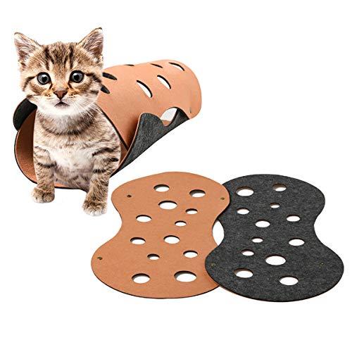 Yolispa Katzentunnel Spielzeug Freie Form Filz Kätzchen Versteck Rohr DIY Haustier Katzenspielzeug mit Löchern