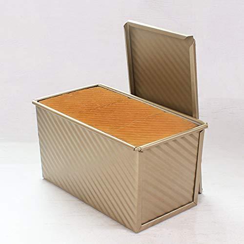 Eighty Molde de pan con tapa antiadherente para tostadas con tapa, molde de tostada con orificios ventilados para hornear rápido acero al carbono Pan Pan de lata con tapa