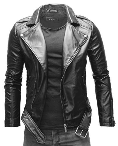 Crone Fynn Herren Biker Lederjacke Basic Echtleder Jacke mit Gürtel und Reverskragen (M, Schwarz (Ecoleder))