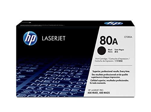 HP 80A | CF280A | Toner Cartridge | Black | Works with HP LaserJet Pro 400 Printer M401 series, M425dn