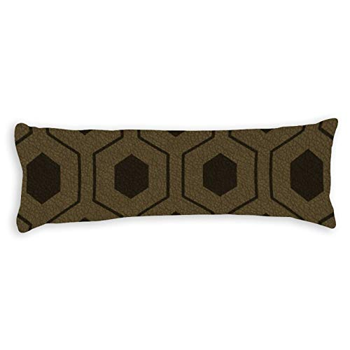 Modern Hexagon Pattern On Brown Textured Design Ultra Soft Microfiber Long Body Pillow Cover Pillowcases with Hidden Zipper Closure for Kids Adults Pregnant Women, 20' x 54'