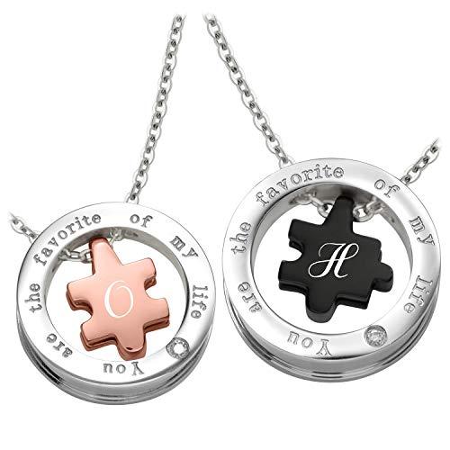 Schmuck-Pur Partner-Anhänger mit persönlicher Laser-Gravur Puzzle Partnerschmuck Edelstahl mit Kristalle 2 Halsketten 45/50 cm