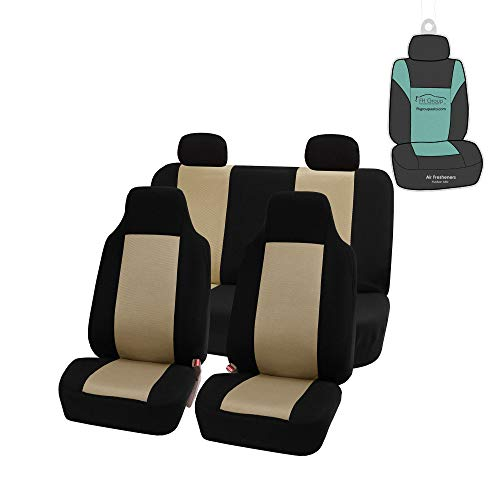 FH Group FB102114 Classic Full Set High Back Flat Cloth Car Seat Covers,Pink / Black- Fit Most Car, Truck, SUV, or Van (Beige)