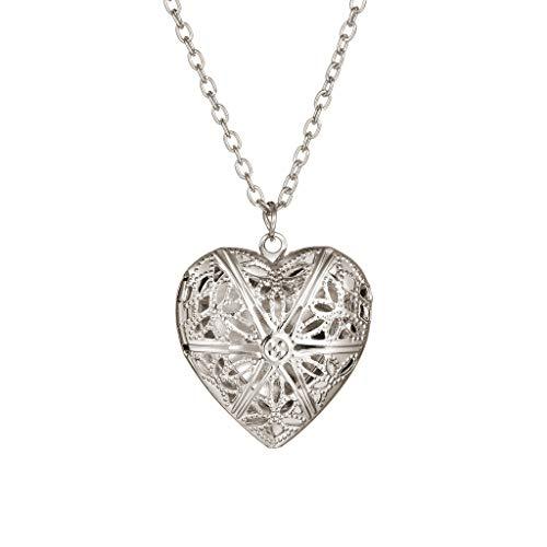 Corazón colgante 1 ranura marco de fotos colgante collar joyería regalo sólido