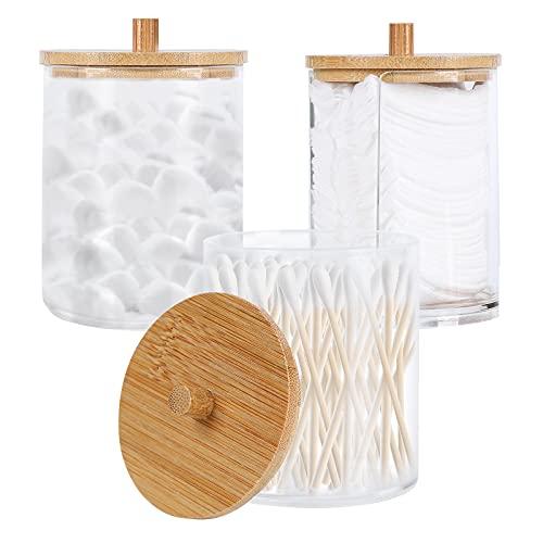Gukasxi 3 Stück Acryl-Qtip-Halter mit Bambus-Deckeln, Badezimmer-Behälter, Dosen, Spender, Wattestäbchen, Pad-Halter für Badezimmer-Aufbewahrung, Organizer (Clear A)