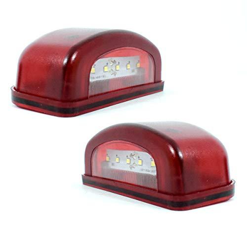 2x Rot Weiss LKW PKW 12V/24V LED Kennzeichenbeleuchtung Nummernschild Beleuchtung Lampe Leuchte Licht Anhänger Wohnmobil Wohnwagen Bus