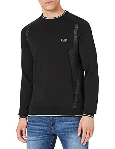 BOSS Hommes Rovan Pull en Coton Biologique avec détails en Mesh et Logo