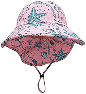 JJSPP Kids Sunhat Polyester Fabric Wide Hat With Neck Protection Summer Children's Sun Protection Hat (Color : B)