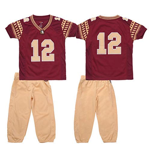 FAST ASLEEP NCAA Florida State Seminoles Boys Toddler/Junior Football Uniform Pajamas, Size 2T, Maroon/Gold