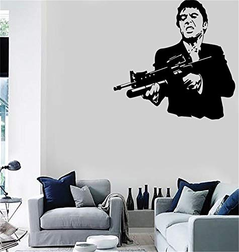 Wandtattoo Aufkleber Kunstwandhauptdekor Scarface Film Gangster Man Waffen