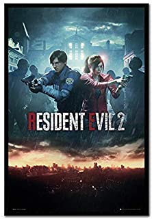 Resident Evil 2 Poster City Magnetic Notice Board Black Framed - 96.5 x 66 cms (Approx 38 x 26 inches)
