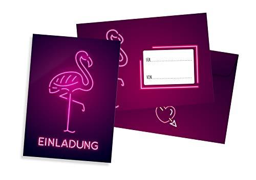 Friendly Fox Flamingo Einladung - 12 Einladungskarten Flamingo zum Geburtstag Kinder Jungen Mädchen Teenager - Einladung Kindergeburtstag - Partyeinladung pink - Coole Geburtstagskarte Flamingo