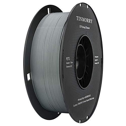 Filamento PETG 1,75 gris, Tinmorry Filamento PETG 1,75 mm para impresora 3D FDM, materiales de impresión 3D, 1 kg 1 bobina