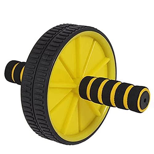 AB Roller Wheel, Rueda Abdominales Fitness AB Roller Rodillo Rueda con Rodilleras para Entrenamiento Abdominal De Fuerza Central Ligero Y Portátil Muy Adecuado para Ejercicios De Fitness,Amarillo