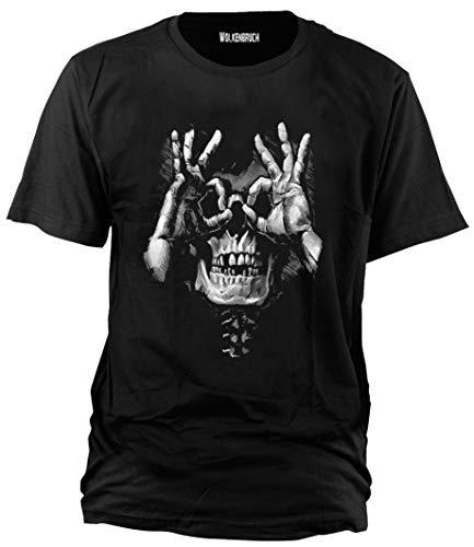 Wolkenbruch T-Shirt Skull Hands Totenkopf Gr.M-XXXXXL, M, Schwarz