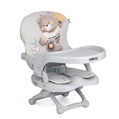 CAM Sitzerhöhung SMARTY POP | Flexibler Boostersitz & Reisekindersitz Kinder & Kleinkinder | faltbar & höhenverstellbar | 4 Höhen (0-18 cm) | Universal-Befestigung am Stuhl (Bezug Bärchen)