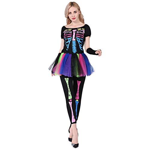 YuanDian Mujer Halloween Terror Disfraz De Esqueleto Monos Muerta Novia Bruja Traje Vestidos Carnaval Cosplay Faciles Disfraces Trajes De Halloween