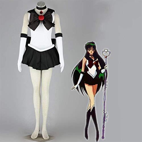 GGOODD Klassisch Anime Sailor Moon Crystal Meiou Setsuna Sailor Pluto Cosplay Costume Uniform Bekämpfen Damen Halloween Weihnachten Karneval Kleid Anzug,Schwarz,M
