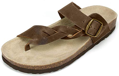 White Mountain Shoes Crawford Women s Flat Sandal  Brown/Leather  7 M
