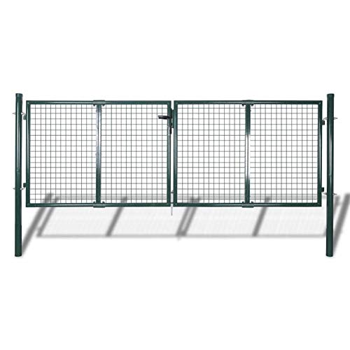 Garden Fence Gate Galvanised Steel with a Powder Coated Finish, Dark Green,Total Size: 306 x 175 cm,Gate Size: 289 x 125 cm,Post Diameter: 60 mm,gainst Rust and Corrosion,by BIGTO(3 Keys)