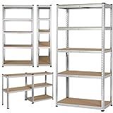 Yaheetech Heavy Duty 5 Tier Metal Garage Shelving Unit Boltless Storage Shelves Shed Kitchen Racking,180 x 90 x 40 cm