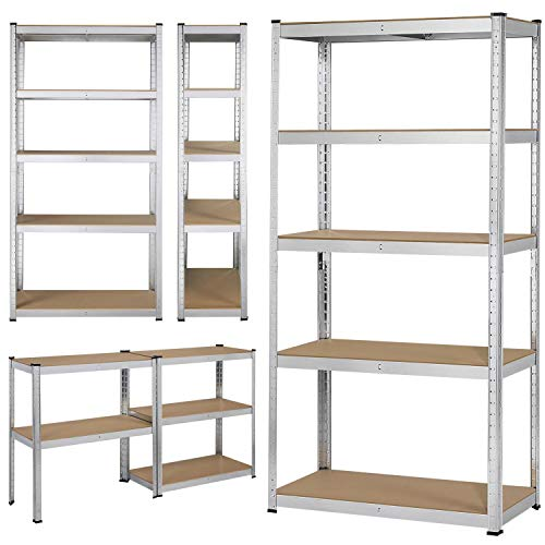 Yaheetech Heavy Duty 5 Tier Metal Garage Shelving Unit Boltless Storage Shelves Shed Kitchen Racking,180 x 90 x 40 cm
