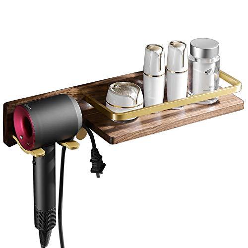 Estante de baño montado en la pared de madera para secador de pelo, estante de ducha, dorado cepillado