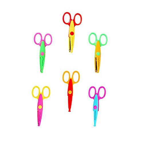 Wenosda 6 unids Paper Edge Tijeras de Seguridad Decorativo Scissor DIY Craft Tool Toy para Niños/Niño/Niñito/Estudiante/Maestro/Preschool Handcraft Training(Paquete de 6, Color clasificado)