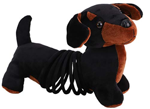 TOYLAND® 27cm Springy Pets Peluche Perro Dachshund - Negro / Marrón - ¡Se estira hasta 70 cm!