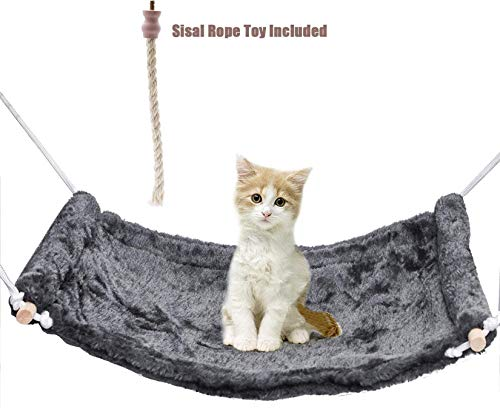 None brand SYANDLVY Cat Hammock for Cat Cage Chair, Hanging Pet Cage Hammock, Ferret Hammock and...