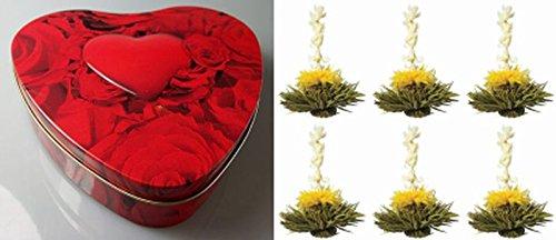Feelino edle Herzbox inkl. 6 Teeblumen / Teerosen in sehr edler Probier- und Geschenkdose, inkl. Bedienungsanleitung, hochwertigster Tee mit echten Calendulablüten - Teebox