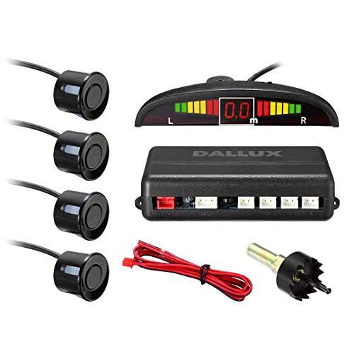 DALLUX LED Display Parking Sensor,Car Reverse Backup Radar System,LED Display+Buzzer Alert+4 Black Color Parking sensors for Universal Auto Vehicle