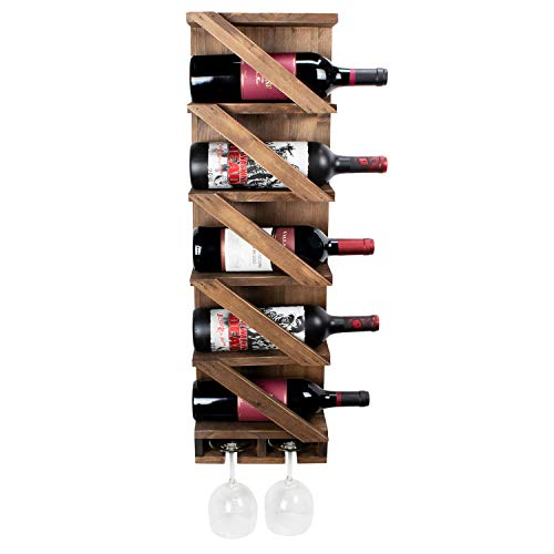 Atterstone Rustic Wine Rack with Hanging Stemware Holder, Stylish Wall Mounted Wooden Wine Bottle Display Rack, Holds 5 bottles and 2 Glasses