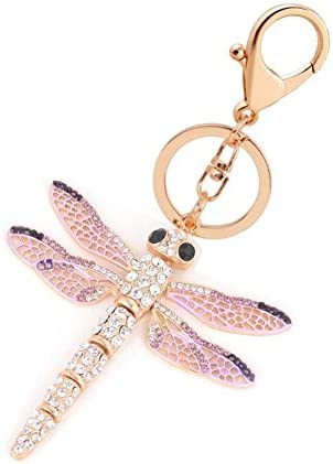 Tvoip Rhinestone Animal Key Chain Cute Charm Bling Crystal Gift Keychain Dragonfly product image