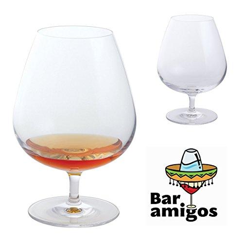 Bar Amigos® Everyday Classic Essentials Brandy Balloon Glasses Kristallglas  Snifter Cognacgläser Cognacglas Brandy-Glas   Bleifreies Glas  Spülmaschinenfest   610ml - Packung mit 2 Stück (Pair)