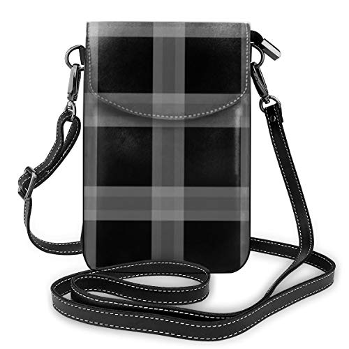 Goxegag Cartera multifuncional de piel para teléfono móvil, bolso de hombro pequeño, bolso de viaje con correa ajustable para mujeres, sofá de cuadros negro y gris