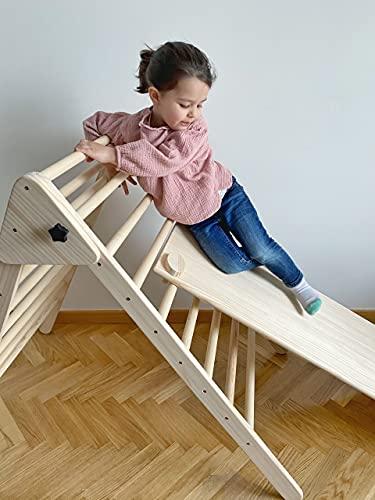 Triángulo de pikler grande plegable - Triángulo de madera - Escalera pikler (Grande, Rocódromo, Arcoíris)