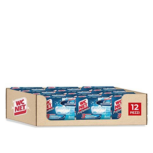Wc Net Tavoletta Profumoso 3 Effect, Detergente Igienizzante Solido per WC, Fragranza Ocean Fresh, 4 Pezzi x 12 Confezioni