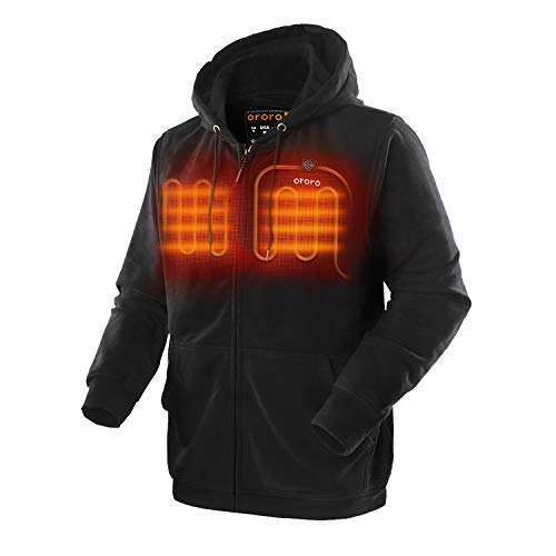 ORORO Heated Hoodie with Battery Pack (Small, Black)