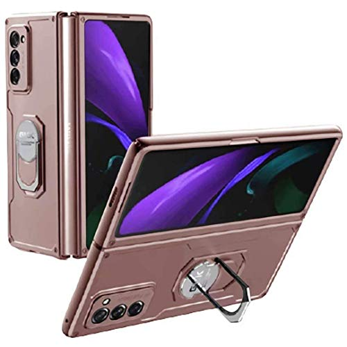 Compatible para Samsung Galaxy Z Fold 2-5G Carcasa(2020)Funda+3D Vidrio Templado Protector de Pantalla/Caja Skin Hard Silicona Cojín Antigolpes Caso Bumper 360° Giratorio Anillo Soporte Funda-Oro rosa
