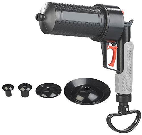 AGT Abfluss Pistole: XL-Pressluft-Rohrreiniger mit handlichem Pistolengriff und 4 Aufsätzen (Rohrfrei)