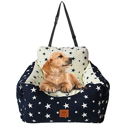 Arkmiido Autositz für klein Hunde/Katze, Sicherheitssitz für Haustiere, Waschbares Haustierbett, Rutschfeste Basis, Doppelte Verwendung innen und außen, Drinnen und Draußen (55 × 50 × 35 cm)