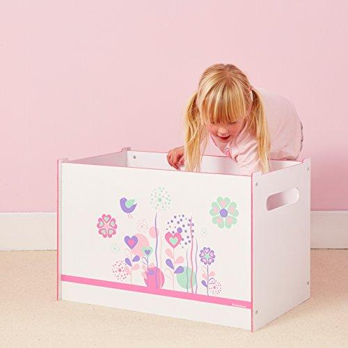 Spielzeugtruhe Worlds Apart Blumen und Vögel, weiß, 60×39,5×39,5cm - 3