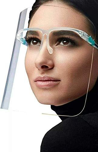 Requisite Needs - Visera de plástico resistente con gafas de protección de cara completa, protector de cara, protector facial, película protectora debe ser despegada de la parte delantera y trasera